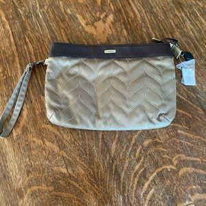 New Travelon tan & taupe fabric wristlet-clutch